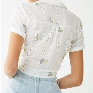NWT floral embroidered shirt